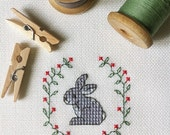 "The scheme for cross stitch ""Rabbit in floral wreath"""