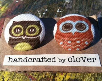 Handcrafted Fabric Owl Buttons