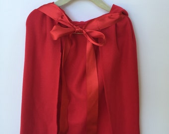 Red Riding Hood Cape... Fleece Cape.. Fleece Hooded Cape...Red Cape...Red Riding Hood Costume