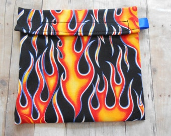 Red Flames Reusable Sandwich bag