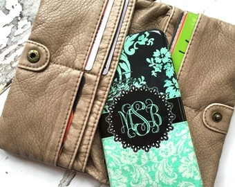 Mint iPhone 6 case, Monogram iPhone 4 case, Damask iPhone 5c case, Shock resistant Iphone 5 case, Women's fashion, Distressed green  (9957)