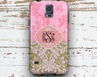 Grunge Samsung S3 case, Floral S4 case, Damask S5 case, Monogram Samsung Note 4 case, Christmas gift idea for daughter, Pink green (9834)