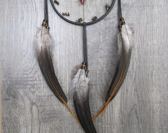 Dream Catcher Black Deerskin Leather with Rooster Feathers