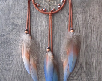 Dream Catcher Rust Deerskin Leather with Macaw Parrot Feathers ~ OOAK