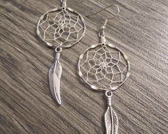 Dream Catcher Earrings ~ Silver with Silver Plated Tribal Feather Charms
