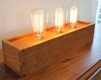 Edison Lamp with Dovetailed Cherry Box - Made to Order