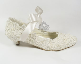 Eleanor - Ivory Pearl & Lace Vintage Closed Toe ANY HEIGHT Low Mid High Kitten Heel