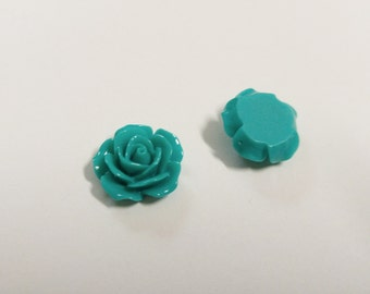 Turquoise Flower Cabochons Rose Cabochons 18mm Flat Back Resin Flower Cabochons Teal 50 pieces