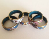 ON SALE 1950s Stack of Enamel Rings 5 Total
