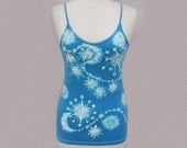 Yoga Tank Top, Shooting Stars Blue Tank Top, Blue Batik Top, Hippie Tank Top, Boho Tank Top, Festival Clothing, One of a Kind Gift for Her