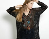 FLASH SALE Vintage 1990s Express Tricot Sheer Mesh Net Cover Up Sweater L Os