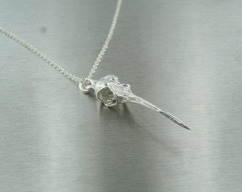 Humming Bird Skull Pendant (Silver)