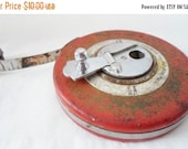 ON SALE Vintage Red Ridgid 50 Feet Metal Tape Measure, Metal Case, Industrial, Mid Century Modern, Tool