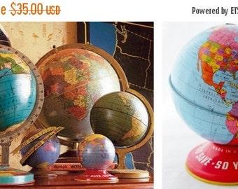 "ON SALE Ohio Art, World, Globe, 1945, World Bank, Bank, Tin Globe, 4"", World Globe, Vintage, Made in USA, Child's, Litho, Map, Blue, Yellow"