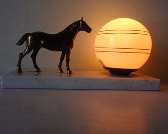 French Art Deco Horse Lamp - Vintage Table lamp -  Vintage Bedside Lamp on Marble 1940s - Good Condition