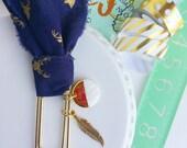 navy and gold deer / fabric planner - bible journaling jumbo paper clip