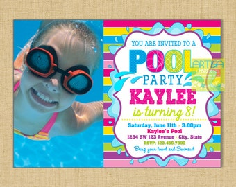 Pool Party Invitation, Pool Party Birthday Invitation, Girl Pool Party Invitation, Pool birthday party invitation, summer birthday, pool inv