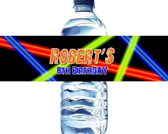 Laser water bottle labels, Lasertag water bottle labels, laser water labels, laser water labels diy, laser tag water labels, laser party diy