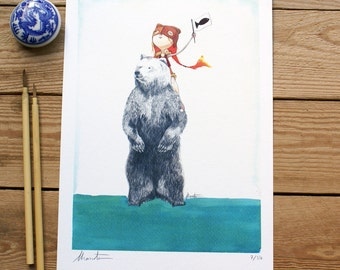 ART PRINTS- Bear Fishing- A3