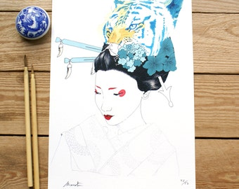 ART PRINTS//tiger geisha// illustration