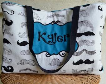Handmade personalized mustache diaper bag