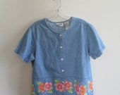 80% OFF SUMMER SALE Vintage Erika Collection Jean Pink Floral Flower Print Trim Button Down Short Sleeve Shirt Top Blouse Sz Medium