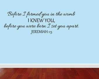 Wall Decal Quote Before I Formed You Large New Vinyl Wall Decal Nursery Decor Sticker Lettering Art Design (JR965)