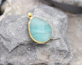 amazonite faceted teardrop 28mm pendant gold edges gemstone pear aqua mint green  drop charm supplies