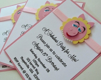 Miss Piggy Birthday Invitations