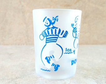 Whiskey Glass Down The Hatch Drunk Sailors Dancing Sailors White Frosted Jigger Blue and White Shot Glass 4 ounces Federal Glass Nautical