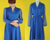Vintage 70s Bridesmaid Dress - Royal Blue Dress - Sheer Sleeve Chevron Pleated Dress - Electric Blue Short Formal Dress - Size Medium