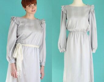 Vintage 80s Metallic Silver Dress - Striped Dress - Satin Dress - Long Sleeve Ruffle Dress - Mother of the Bride Dress - Size Small / Medium