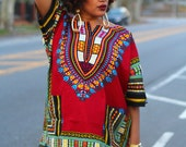 Unisex Dashiki - Black Burgundy Wine