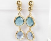 Blue Clip on Earrings Aqua Dangle Antique Gold Drop  AB2-7