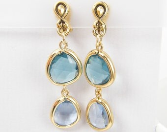 Blue Clip on Earrings Aqua Dangle Antique Gold Drop |AB2-7
