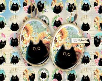 Black Cat - oval image - 18 x 25 mm - digital collage sheet - Printable Download
