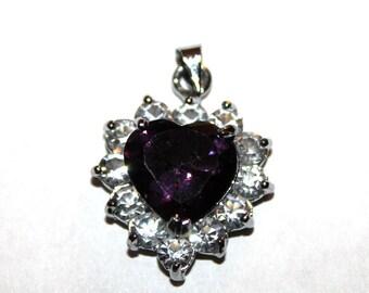 Dark Purple Heart Charm/Pendant with Rhinestones and Silver Bail