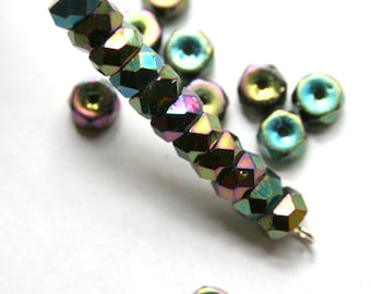 Green Iris 3 mm x 6 mm Faceted Rondelle Beads