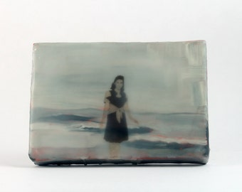 Small Encaustic Painting on Linen Wrapped Panel, Original Artwork, Woman at the Ocean