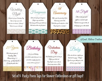 PRINTED Panty Line Poem Cards - Printed and Shipped -by Sweet Melissa Creations