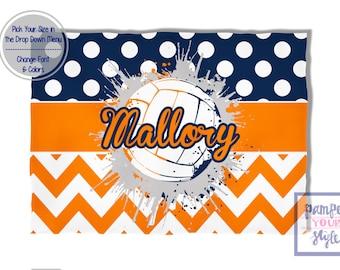 Volleyball Blanket Blue and Orange Spirit Blanket - Personalized Custom Volleyball Blanket - Custom Volleyball Blanket