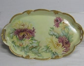 Vintage Hand Painted Limoge France Dresser Tray with Huge Chrysanthemums Mums Bold Colors Artist Signed