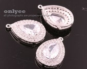 2pcs-22.5mmX15mmBright Rhodium plated Brass Two Line(clear)LUX Cubic zirconia Tear Drop Pendants(K1012S)