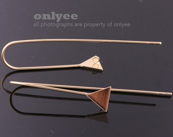 1pair/2pcs50mmX8mm Bright Gold plated Brass Triangle Geometric Hook earring,jewelry earring, post Earring(K910G)