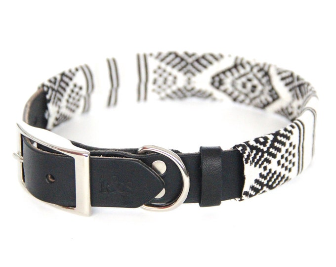Leather Dog Collar with Textile Sleeve // Black and White Ikat // Optional ID Tag