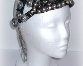 Black sparkly art deco, tribal fusion, tribal bellydance assuit headpiece, headdress