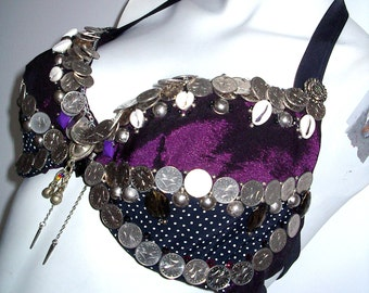 Tribal style, ATS, fusion bellydance purple black dotted coin bra