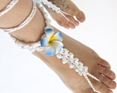 Wedding barefoot sandals floral white crochet barefoot sandals boho foot jewelry, bridesmaid bridal shoes, something blue