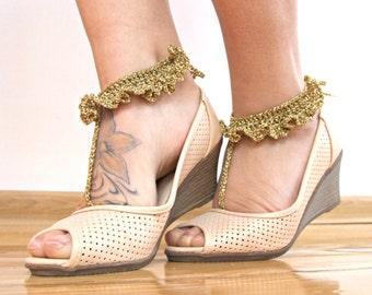 Barefoot sandals beach wedding barefoot sandals sparkle gold elegant sandals foot thongs beach accessories