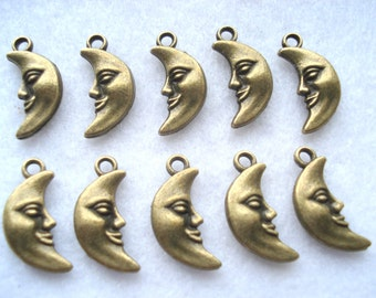 19mm Bronze Tone Man in the Moon Charm Pack of 10 Bronze Tone Man in the Moon Pendant C53